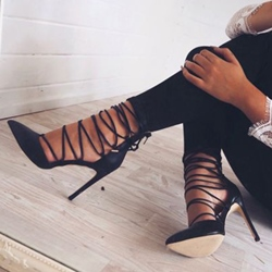 Shoespie Night Out Black Lace Up Stiletto Heels