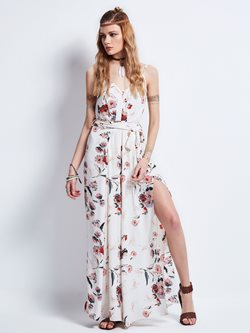 Shoespie Spaghetti Strap Flower Print Maxi Dress