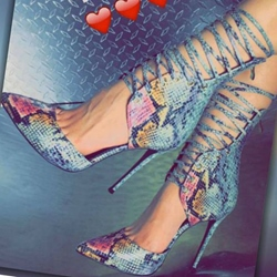 Shoespie Sexy Printed Snake Pattern Lace Up Stiletto Heels