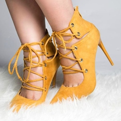 Shoespie Stylish Yellow Lace Up Stiletto Heels