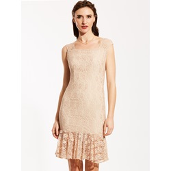 Square Neck Sleeveless Plain Lace Dress