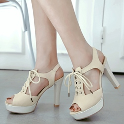 Shoespie Cute Lace Up Peep Toe Platform Heel Sandals