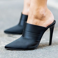 Shoespie Classy Solid Black Mules Shoes