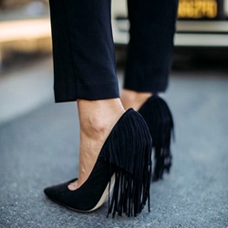 Shoespie Plain Black Back Tassels Stiletto Heels