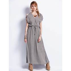 V-Neck Drawstring Batwing Sleeve Geometric Pattern Maxi Dress