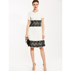 Round Neck Lace Patchwork A-Line Dress