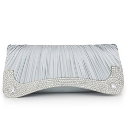Shoespie Elegant Drape Design Rhinestone Clutch Bag