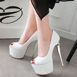 Shoespie Plain Color Peep Toe Platform Heels
