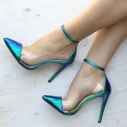 Shoespie Iridescent Green Patchwork Stiletto Heels