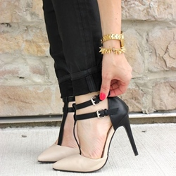 Shoespie Nude Double T Strap Stiletto Heels