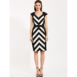 V-Neck Stripe Patchwork Pencil Dress