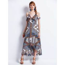 Spaghetti Strap Geometric Pattern Backless Maxi Dress