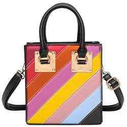 Shoespie Red Rainbow Strap Handbag