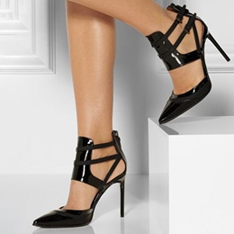 Shoespie Chic Black Shine Leather Cage Stiletto Heels