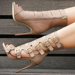 Shoespie Gorgeous Buckled Cage Side Zipper Fashion Booties