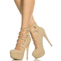 Shoespie Apricot Lace Up Platform Heel