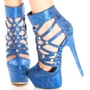 Shoespie Bright Blue Cut Out Back Zipper Platform Heels