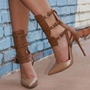 Shoespie Brown Tassel Cage Ankle Booties