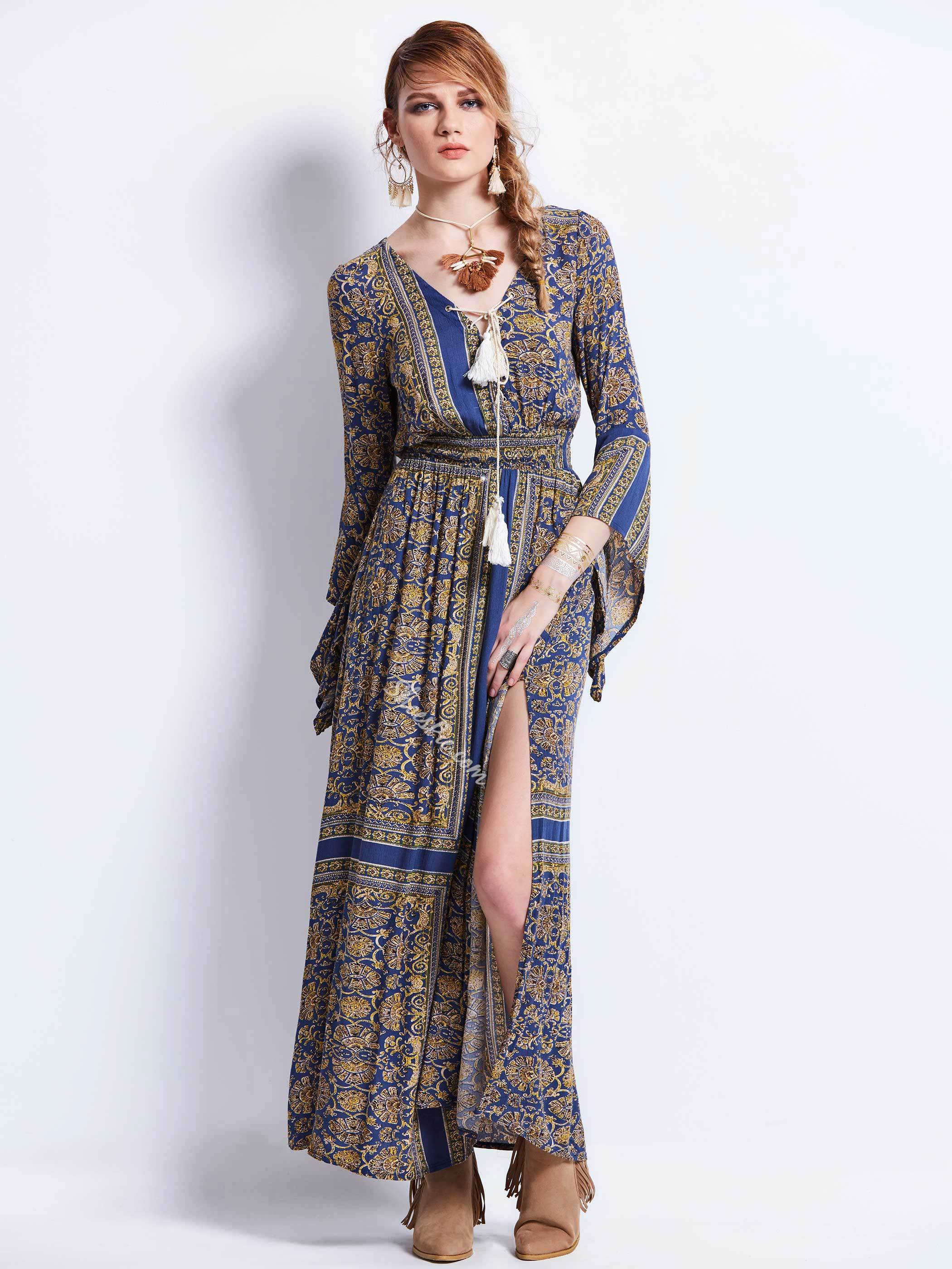 V-Neck Lace-Up Geometric Pattern Maxi Dress