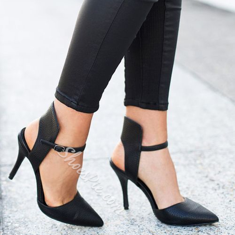 Shoespie Simply Black Backless Ankle Wrap Stiletto Heels