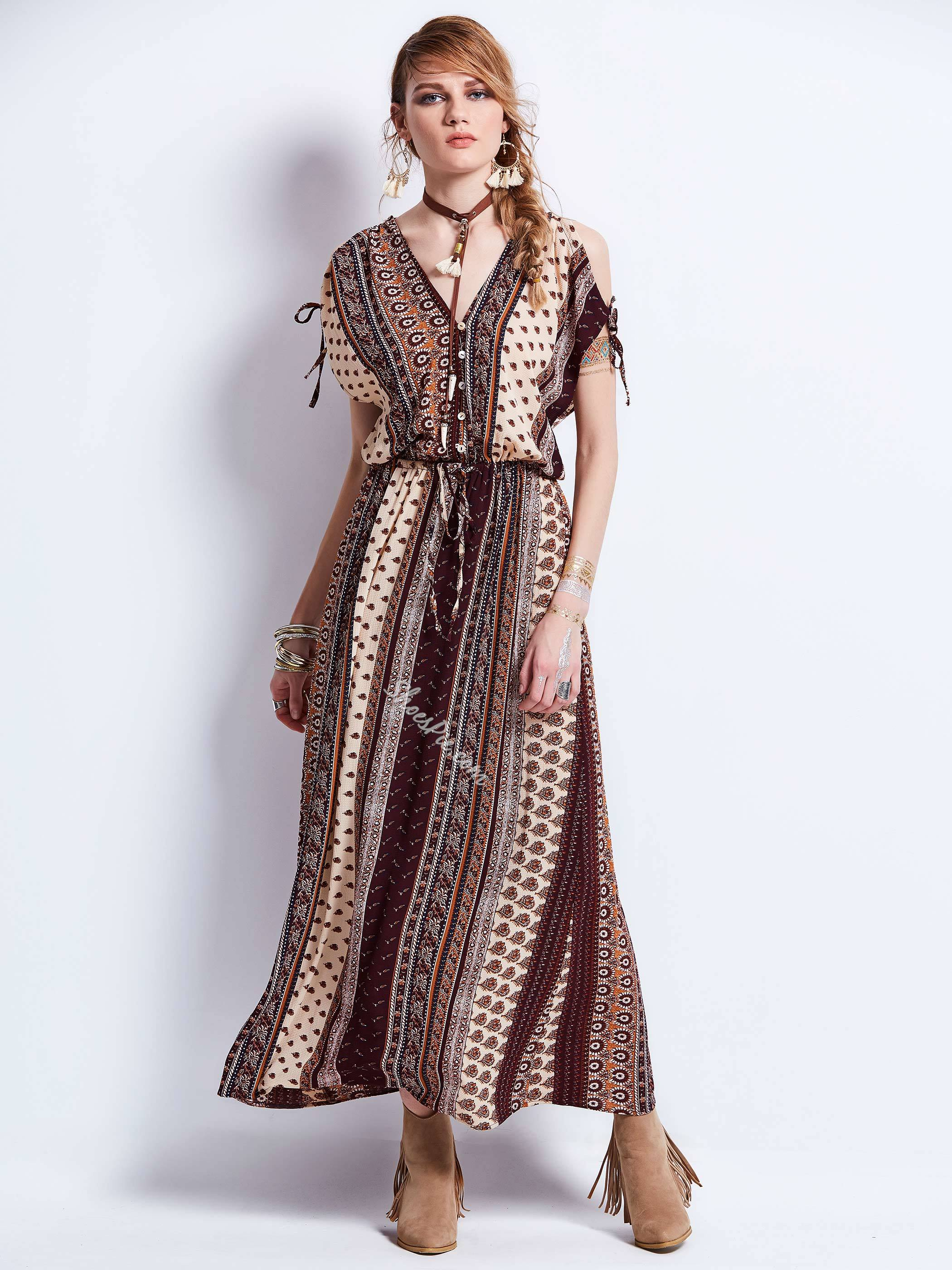 Batwing Sleeve Geometric Pattern Single-Breasted Maxi Dress