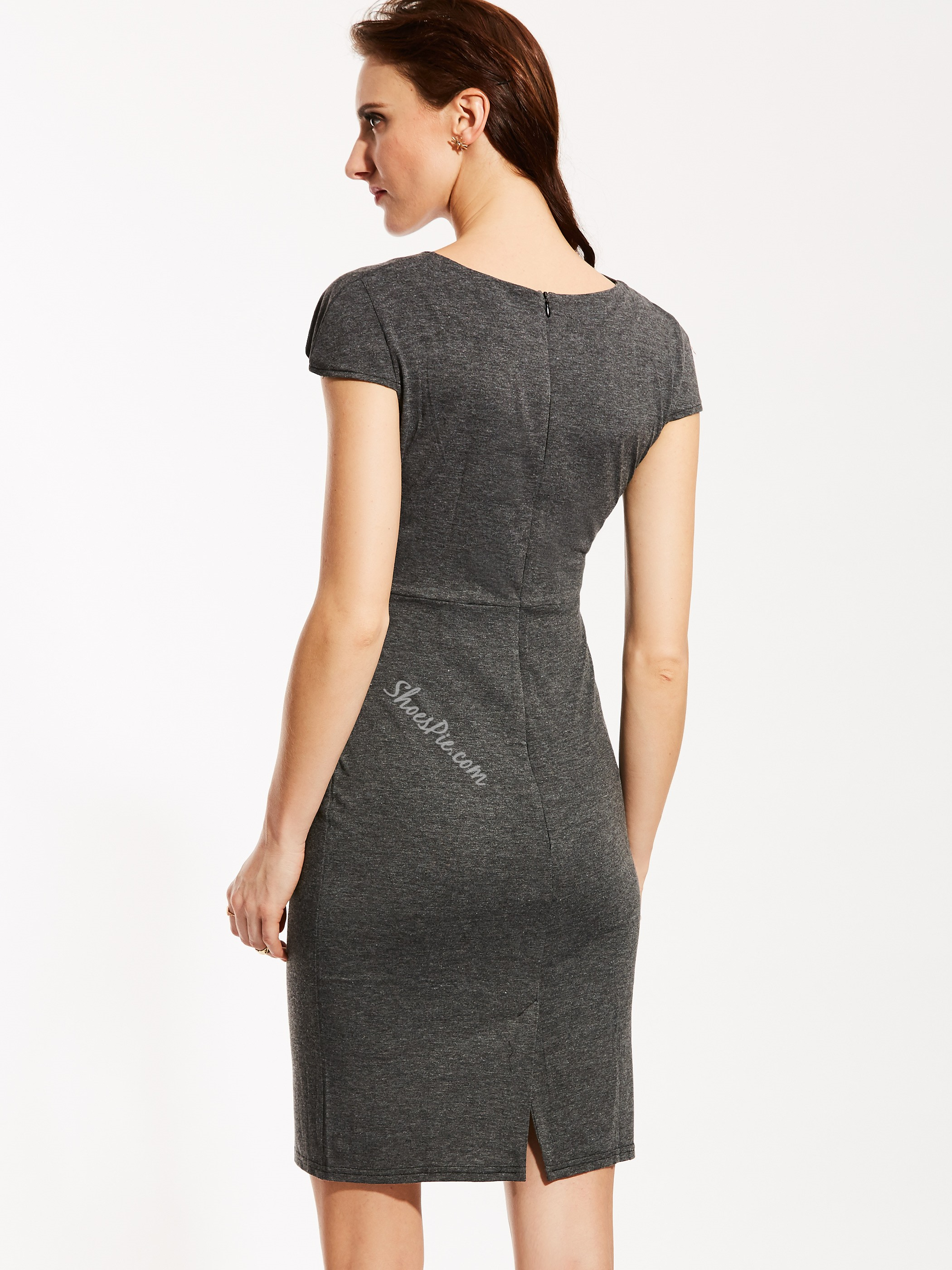 Oblique Collar Plain Bodycon Dress