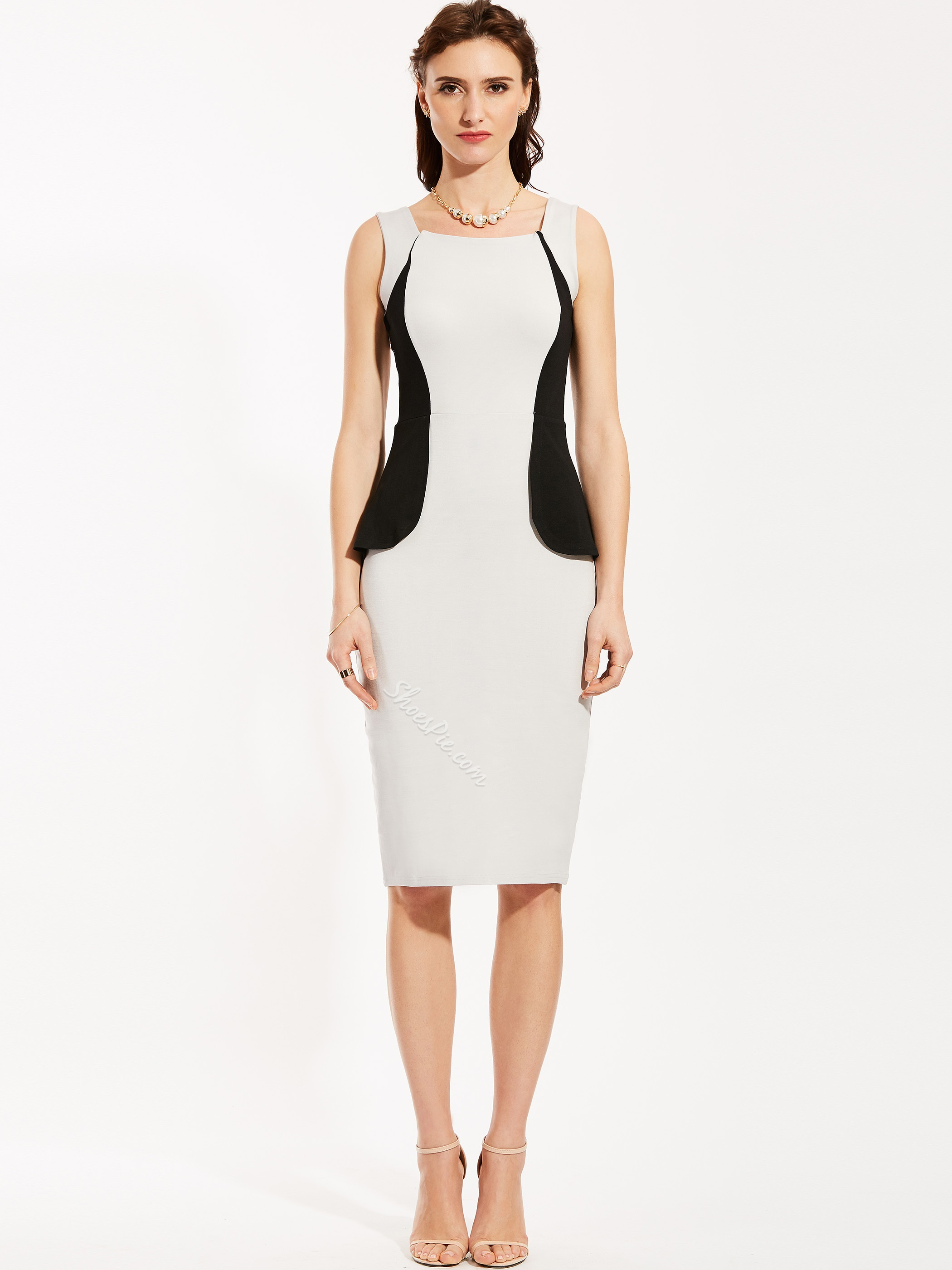 Square Neck Sleeveless Backless Pencil Dress