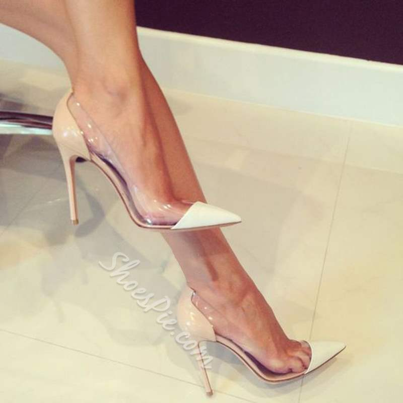 Nude Pointed Toe Patchwork Jelly Sexy Stiletto Heels