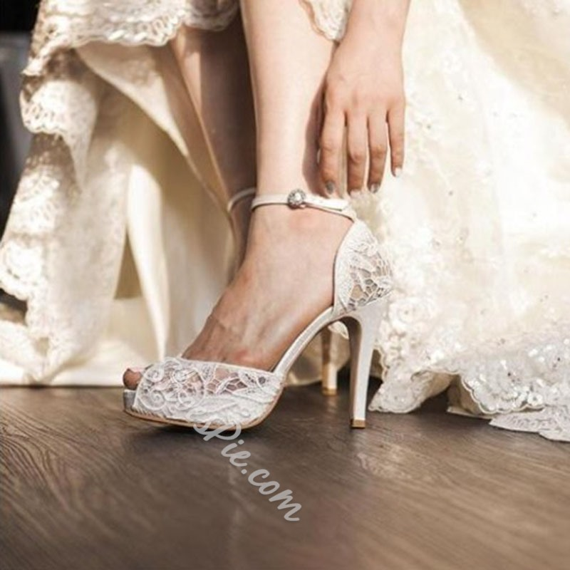 Shoespie Elegant Dreaming Lace Inset Wedding Shoes