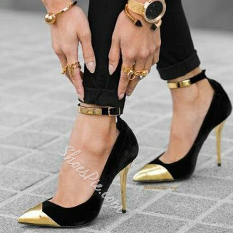 Shoespie Gold Cap Toe Ankle Wrap Stiletto Heel
