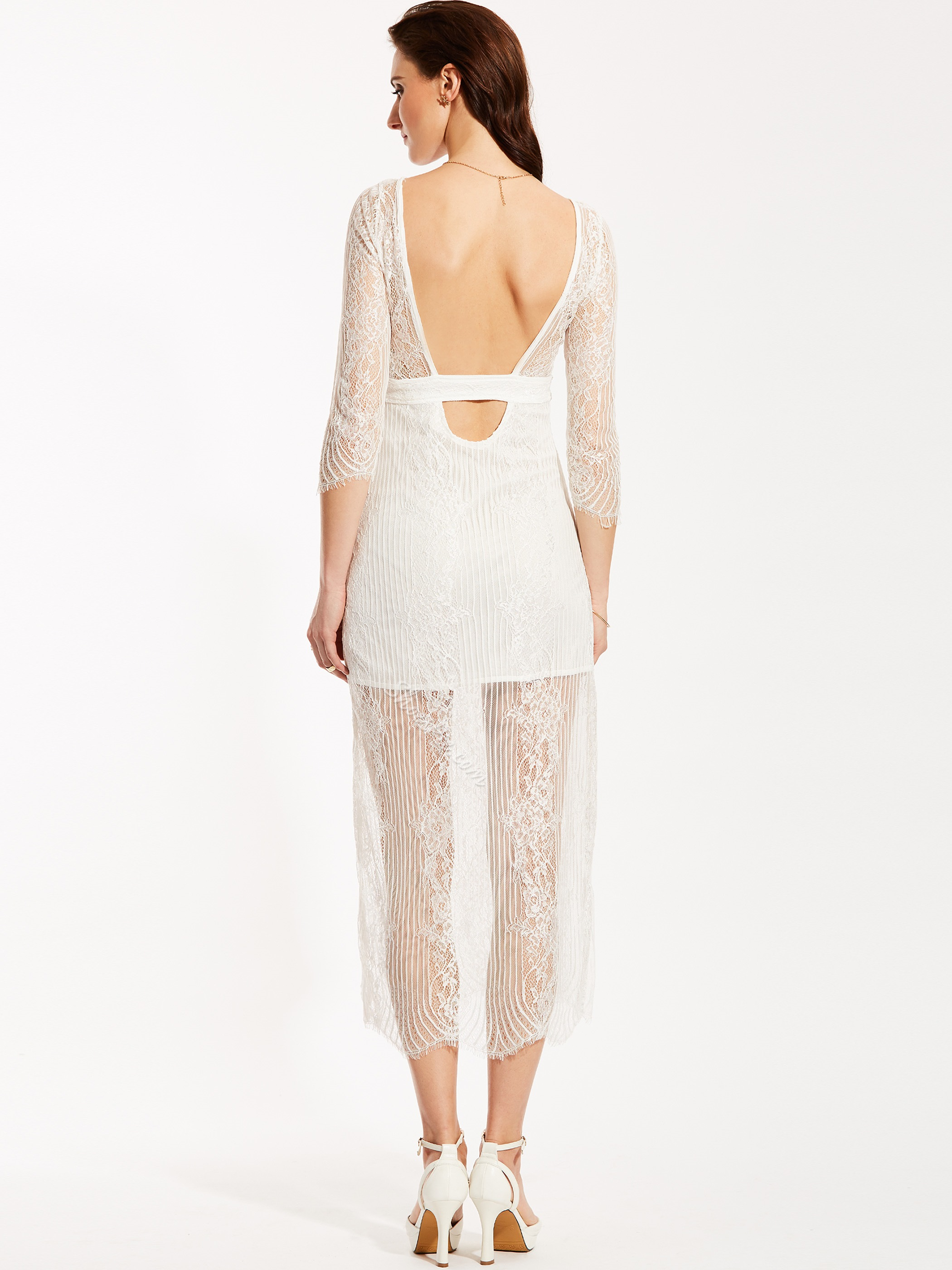Round Neck See-Through Backless Lace Dress