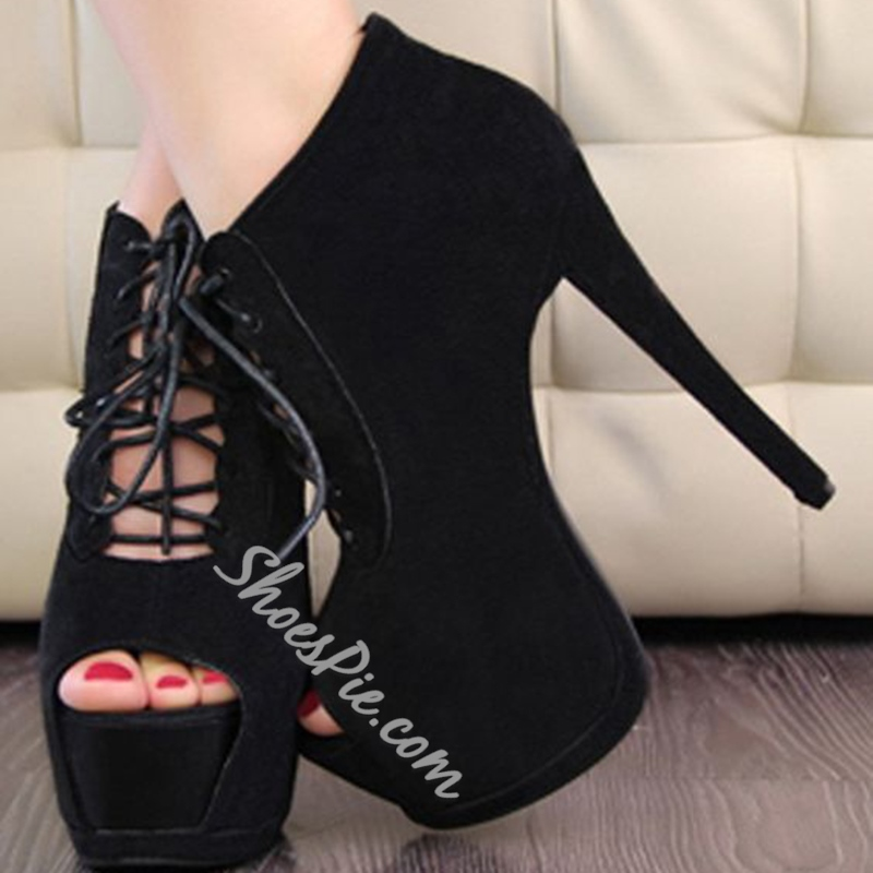 Shoespie Gorgeous Black Peep Toe Platform Heels