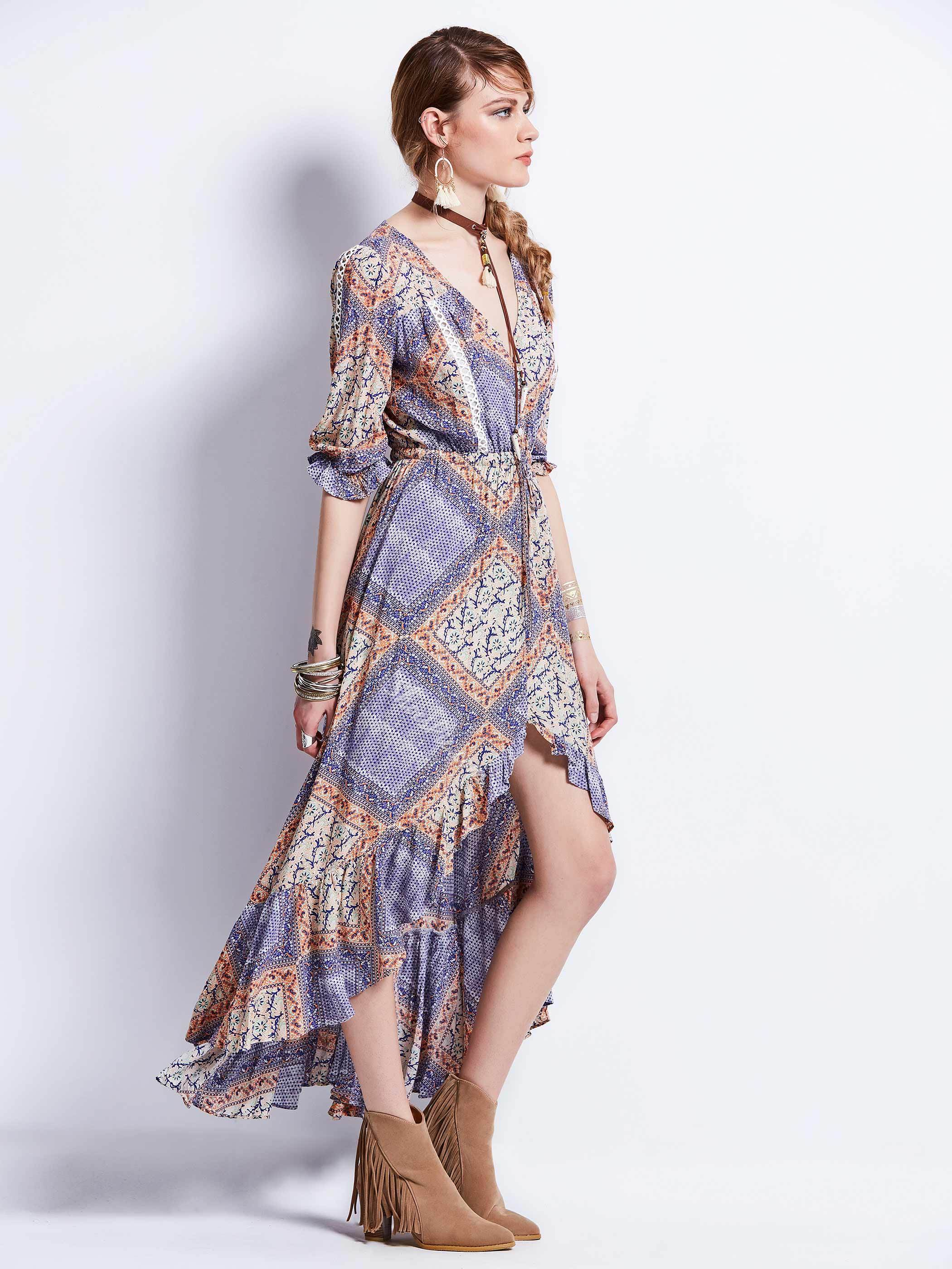Color Block Geometric Pattern Asymmetrical Maxi Dress