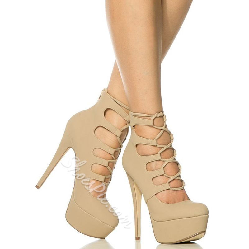 Shoespie Apricot Lace Up Platform Heels