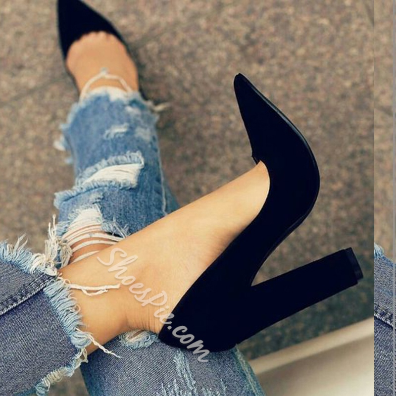 Shoespie Solid Black Chunky Heel Pumps