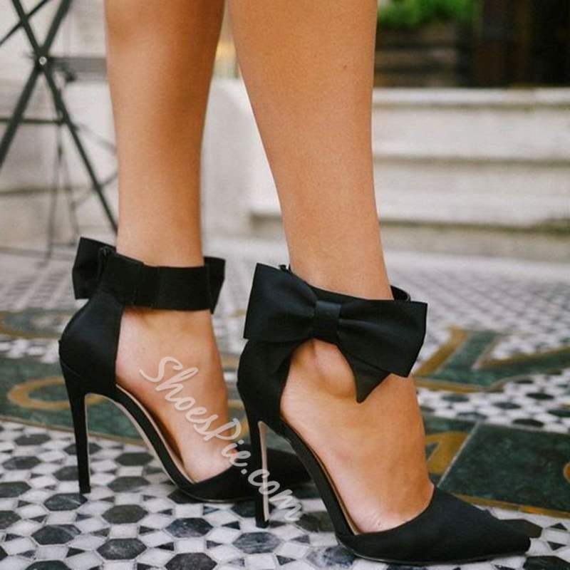 Shoespie Sweet Black Bow Two Part Stiletto Heels