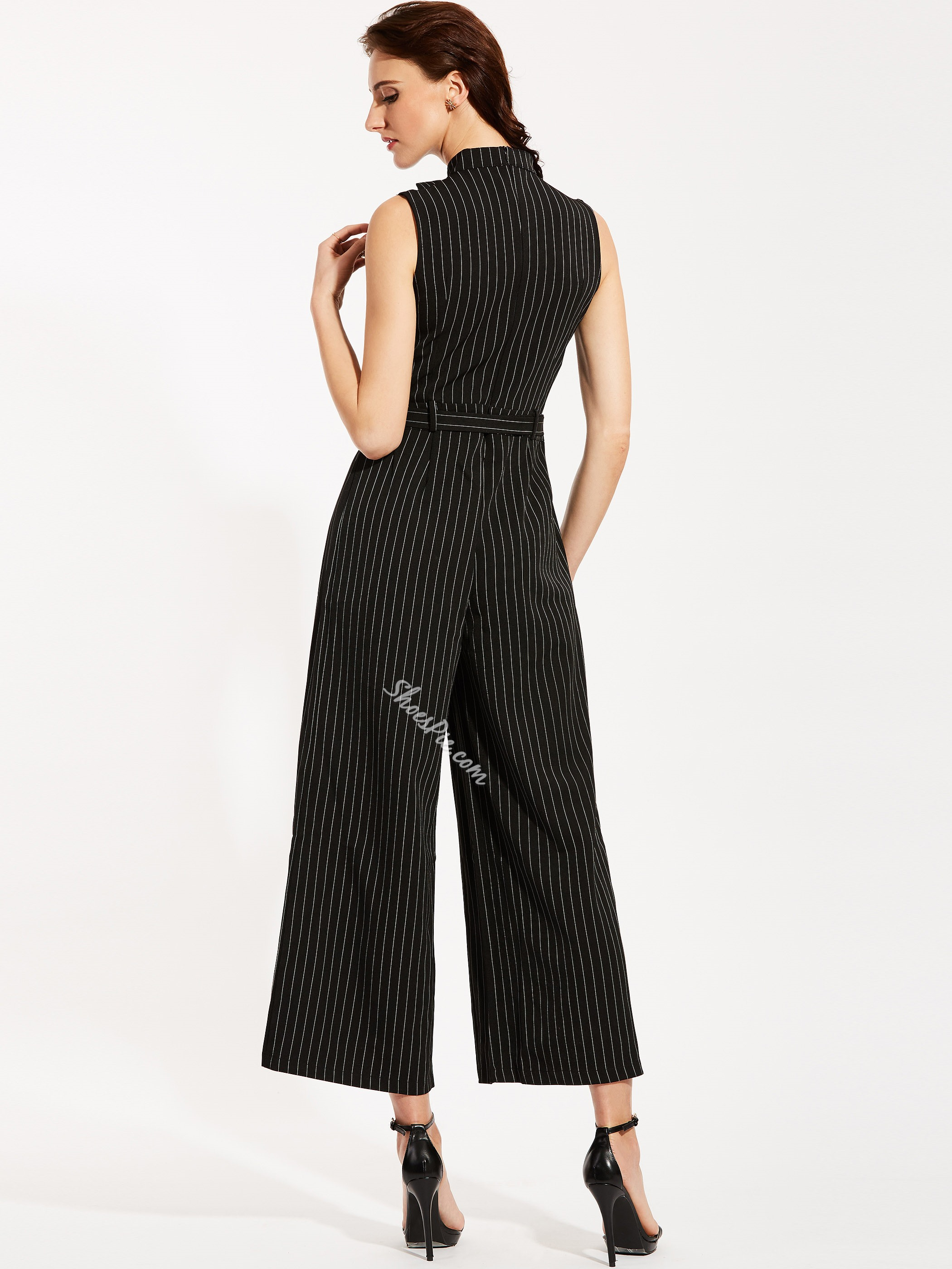 Slim Stripe Wide Legs Jumpsuit