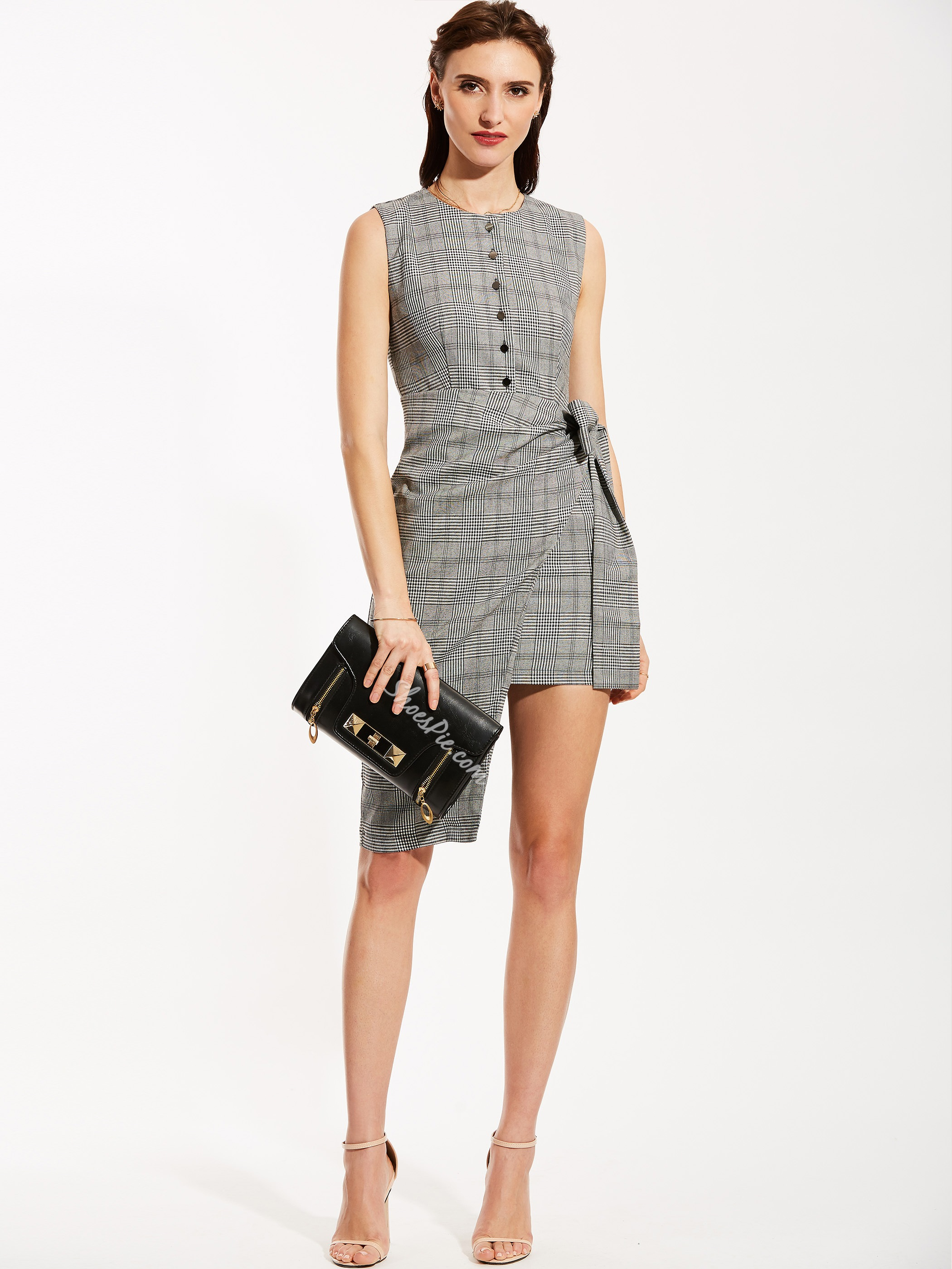 Round Neck Single-Breasted Plaid Asymmetric Day Dress