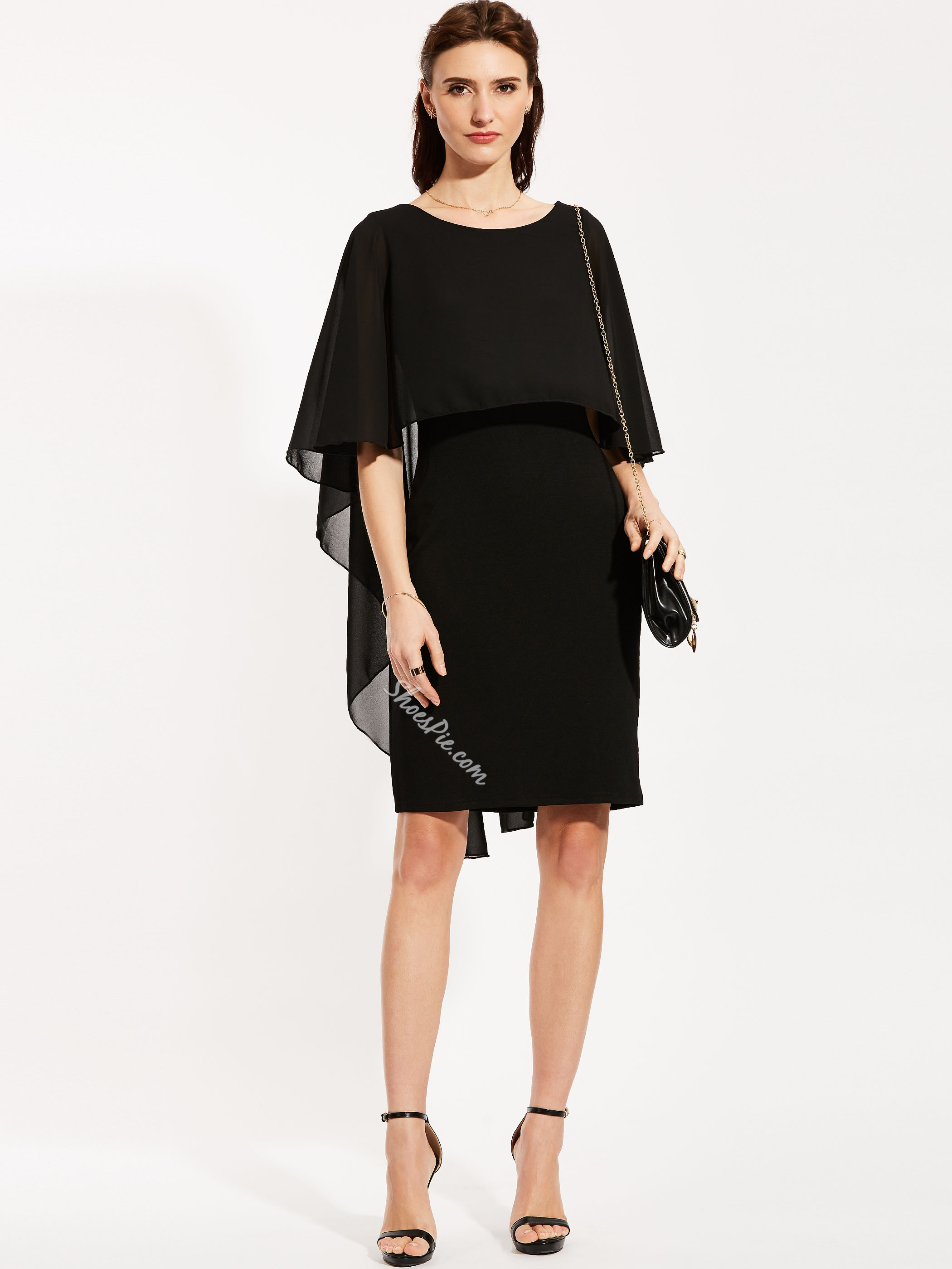 Round Neck Batwing Sleeve Pencil Dress