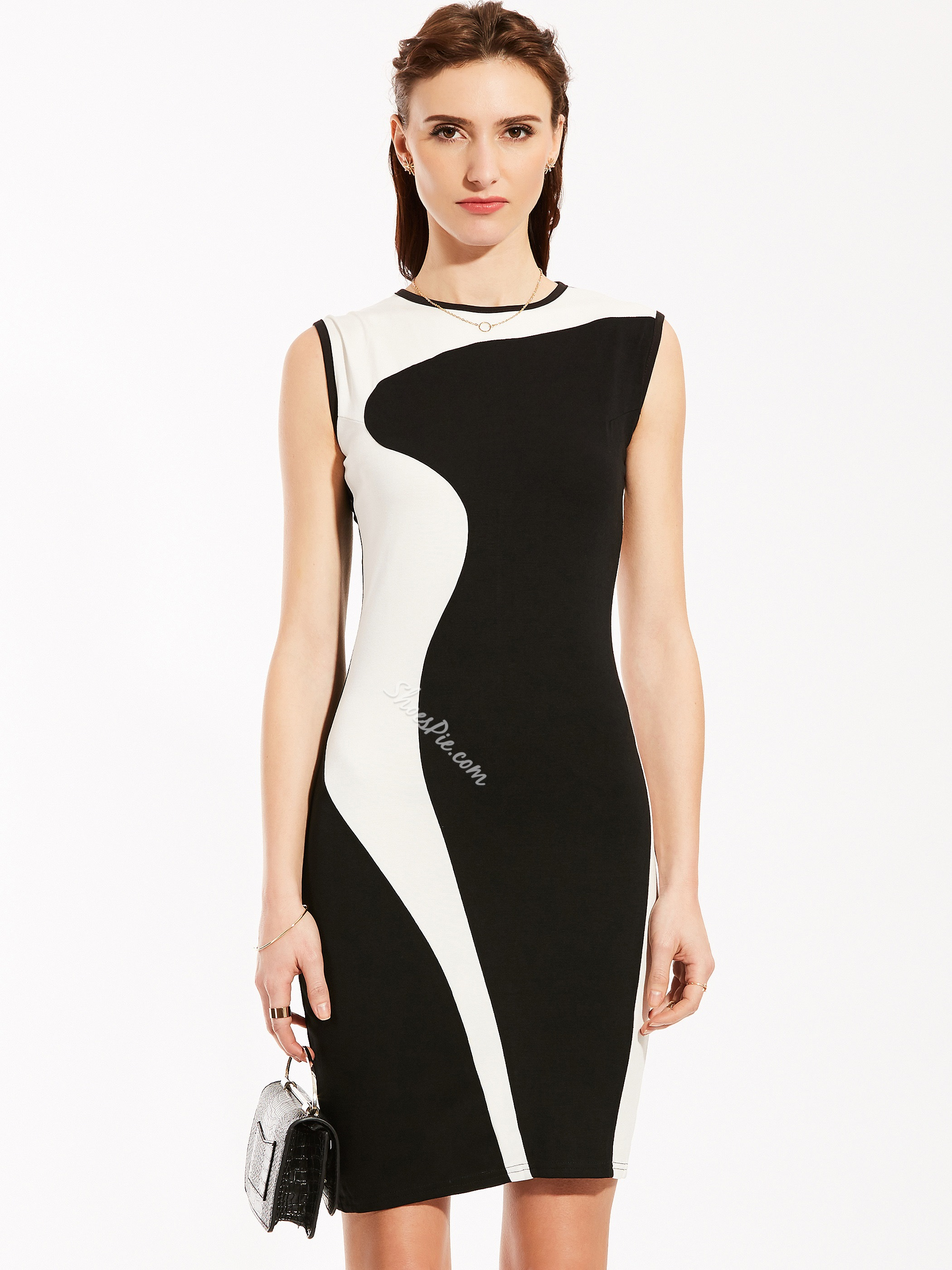 Round Neck Sleeveless Color Block Pencil Dress