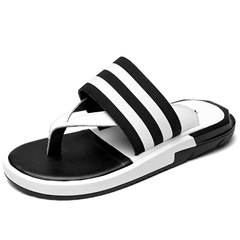 Shoespie Black and White Stripes Thong Flip Flops
