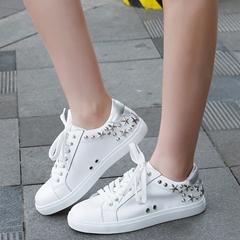 Shoespie White Metal Stars Sneakers