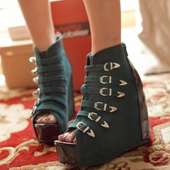 Shoespie Buckles Open Toe Wedges