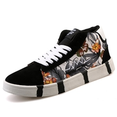 Shoespie Flora Print Lace Up Men's Fashion Sneakers