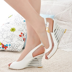Shoespie Slingback Peep Toe Cutout Wedge Sandals