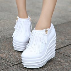 Shoespie Tassels Decorated Side Zipped Platform Wedge Sneakers