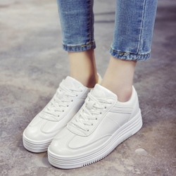 Shoespie White Lace Up Sneakers