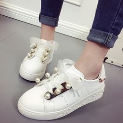 Shoespie Super Cute White Ribbons and Pearls Sneakers