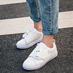 Shoespie White Big Buckles Sneakers