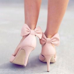 Shoespie Cute Pink Back Bow Stiletto Heels